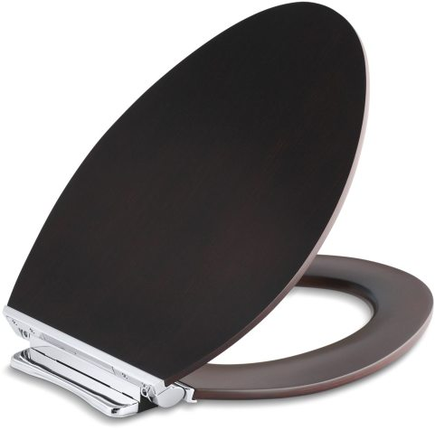 Avantis Wood Elongated Bowl Toilet Seat Dark Antique Walnut