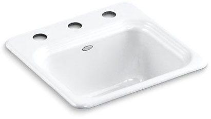 Top Mount Single Bowl Bar Sink - Northland, 3-Hole, White, Cast Iron