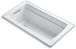 "Archer Drop-In Mount Bathtub, Acrylic 60"" X 32"" White"