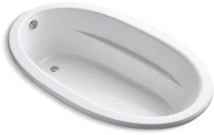 "72"" x 42"" x 20"", White, Acrylic, Oval in Oval, Drop-In, Bathtub"