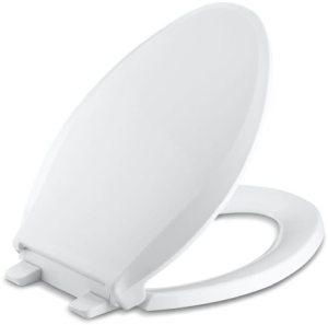 Q3, Quiet-Close, Cachet Elongated Closed Front Toilet Seat, Solid Polypropylene Plastic White