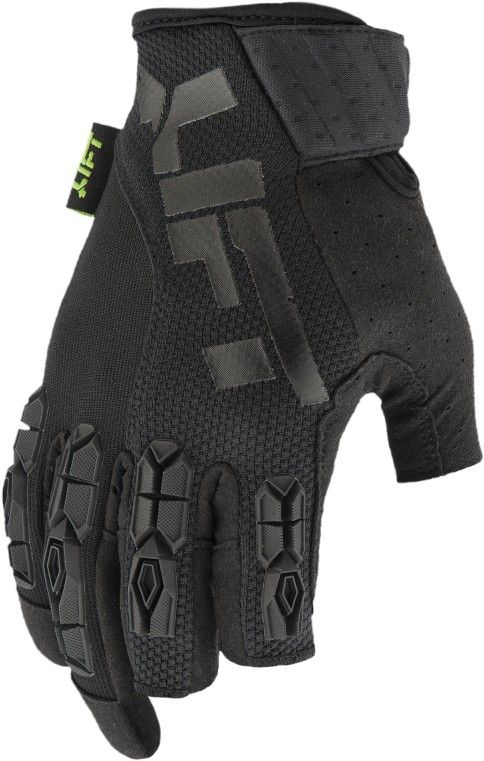 XL Framed Semi-Fingerless Breathable Gloves - Black / Black, Thermoplastic Rubber Knuckle
